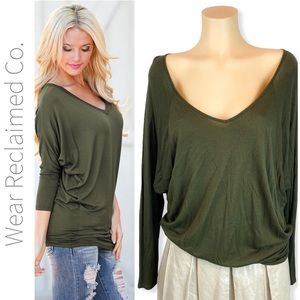 Army Green Draped Wide Neck Open Back Top